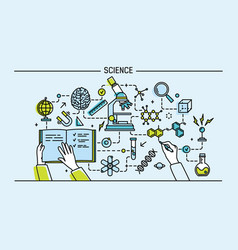 Line art colorful science vector