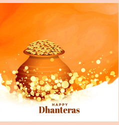 Lovely happy dhanteras festival card with gold vector