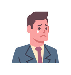 Male crying upset emotion icon isolated avatar man vector