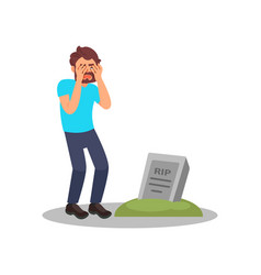 man standing near tombstone and crying grieving vector image