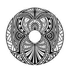 maori polynesian ethnic circle tattoo shape vector image
