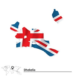Map of Dhekelia with flag vector image
