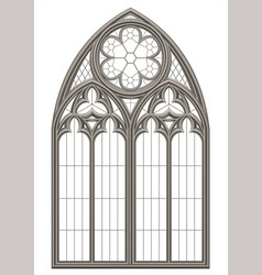 Medieval gothic stained glass window vector