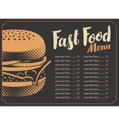 Menu for the restaurant fast food vector