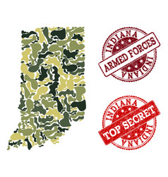 Military camouflage composition of map of indiana vector