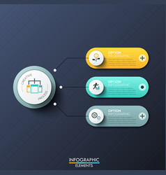 modern infographic design template with 3 rounded vector image