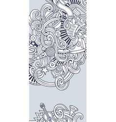 music hand drawn doodle banner cartoon detailed vector image