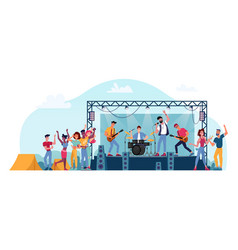 musical band on stage at open air rock festival vector image