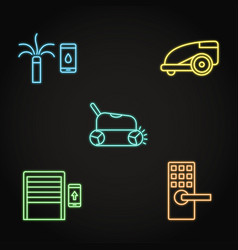neon house and garden automation icon set vector image