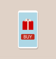 Online gift concept smartphone with gift box vector