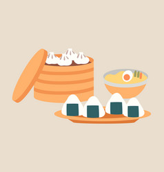 Oriental cuisine dishes vector