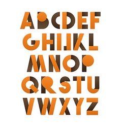 Retro font in orange and brown Brown alphabet vector image
