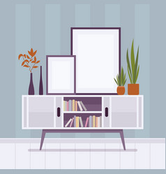 retro interior with two frames for copyspace vector image