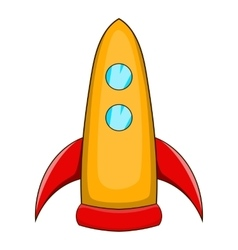 Rocket takes off icon cartoon style vector