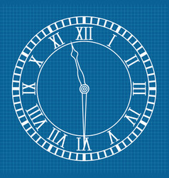 Roman numeral clock icon blueprint background vector