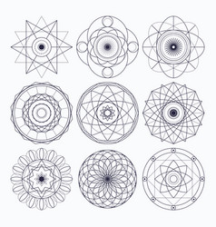 Sacred geometry design elements vector