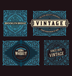 set 4 vintage labels for packing vector image