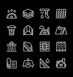 Set line icons roof vector
