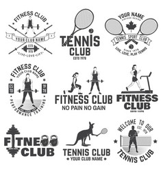 Set of fitness and tennis club concept with girls vector