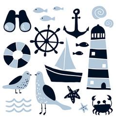 set of nautical design elements vector image
