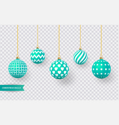 set of realistic green christmas balls with vector image