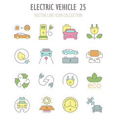 Set retro icons electric vehicle vector
