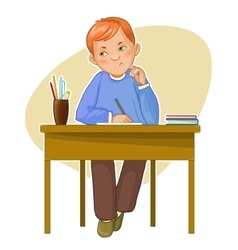 Small boy during her studying sitting at the desk vector