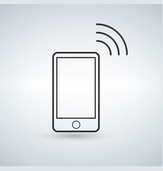 smartphone outline icon with wifi signal design vector image