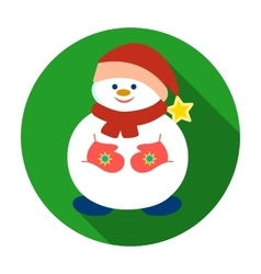 Snowman in Christmas cap icon in flat style vector image