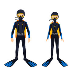 two young scuba divers vector image