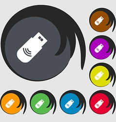 Usb Icon sign Symbols on eight colored buttons vector