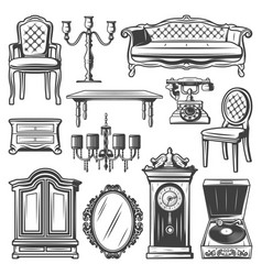 Vintage furniture elements set vector