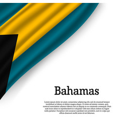 Waving flag of bahamas vector