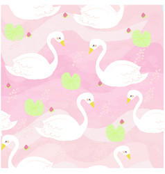 white swan cartoon the pink sweet river vector image