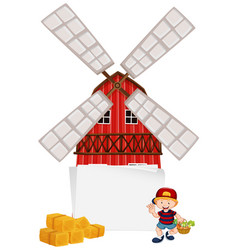 Windmill frame with boy vector