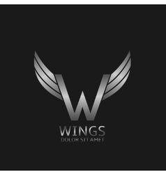 Wings W letter logo vector image