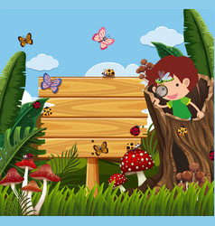 Wooden sign and boy looking at bugs in garden vector