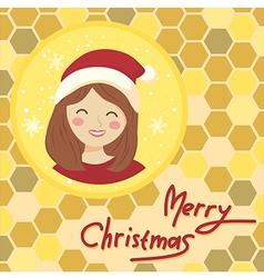 Circle Christmas Girl Bee Hive vector image vector image