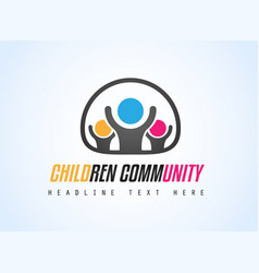 creative children community logo design for brand vector image vector image