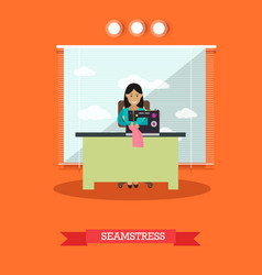 seamstress sewing on vector image