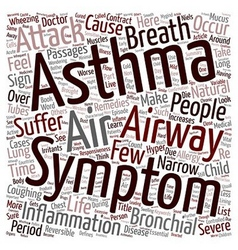 Asthma and Its Symptoms text background wordcloud vector image vector image