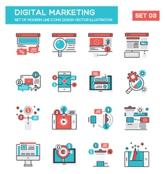 Modern Flat Line icon Concept of Digital Marketing vector image vector image