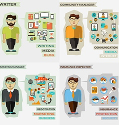Set of professions Writer community manager vector image