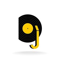 DJ logo concept Music sign vector image