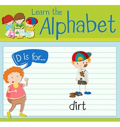 Flashcard letter D is for dirt vector image vector image