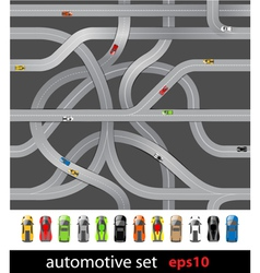 Roads and car collection vector image