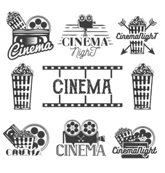 set of cinema labels and logos Isolated vector image vector image