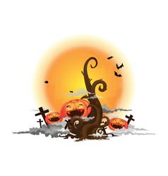tree and halloween pumpkin vector image