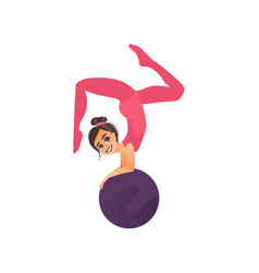 gymnast acrobat girl doing handstand on big ball vector image vector image