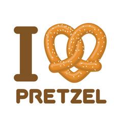 i love pretzel snack heart food lover sign vector image vector image